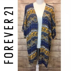 Forever 21 Boho Floral Blue and Yellow Kimono